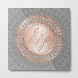 Rose Gold Gray Butterfly Mandala Metal Print