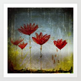 Flowers at dusk. Art Print
