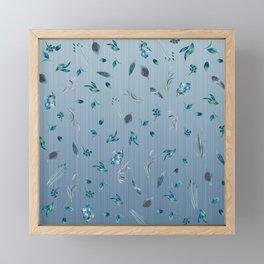 Falling Leaves in Blue Framed Mini Art Print