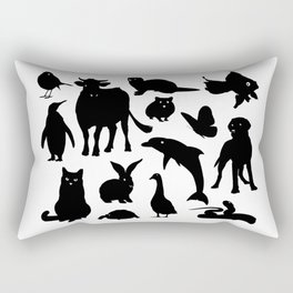ANIMALS PATTERN Black Silhouette Pet Animal Cool Style Rectangular Pillow