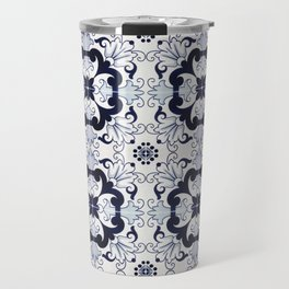 Portuguese Tiles Azulejos Blue and White Pattern Travel Mug