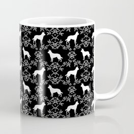 Australian Kelpie dog pattern silhouette black and white florals minimal dog breed art gifts Coffee Mug