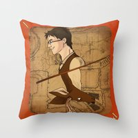 potter Throw Pillows featuring James Potter by Imaginative Ink