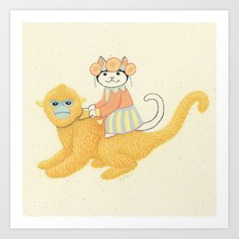 The White Cat with Monkey Art Print