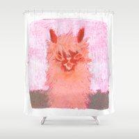 alpaca Shower Curtains featuring Alpaca!!! by J Han
