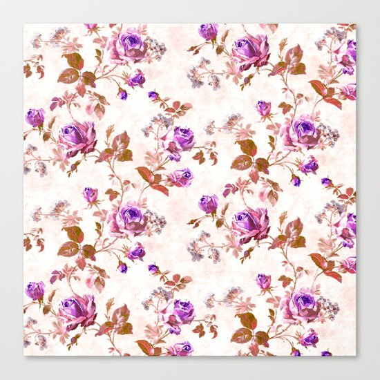 Purple Gold Roses Canvas Print