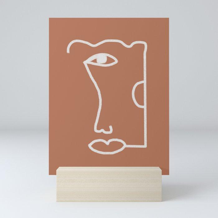Woman Face, Burnt Orange, Minimal Line Drawing Mini Art Print