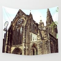 medieval Wall Tapestries featuring glasgow cathedral medieval cathedral by seb mcnulty