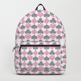 Playing Cards Pattern Pink Grey on White Backpack
