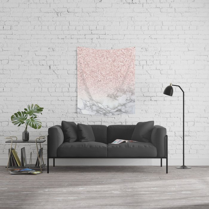 Pretty Rosegold Marble Sparkle Wall Tapestry
