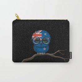 Baby Owl with Glasses and New Zealand Flag Carry-All Pouch