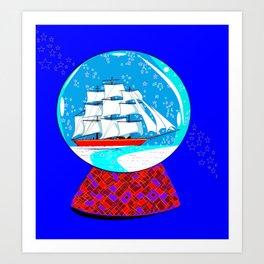 A Nautical Snow Globe with a Clipper Ship Art Print