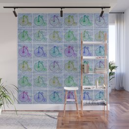 Penny Farthing Vintage Pastel Blue Repeat Pattern Wall Mural