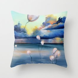 Balloons Over Water Throw Pillow