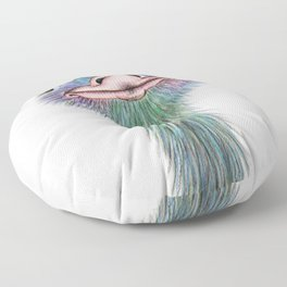 Ostrich colorful bird Floor Pillow