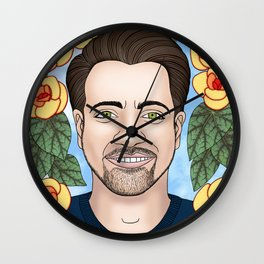 Trae Crowder portrait with begonias Wall Clock