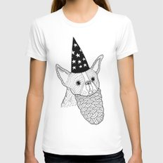 Dog Wizard X-LARGE Womens Fitted Tee White