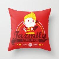 league Throw Pillows featuring Tazmily little league by TeeKetch