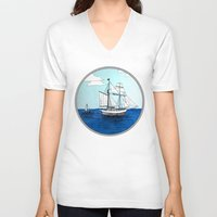 pirates V-neck T-shirts featuring Chasing Pirates by Jamie Marie Lyon