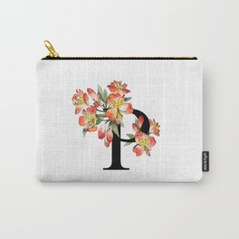 Letter 'P' Peruvian Lily Flower Monogram Typography Carry-All Pouch