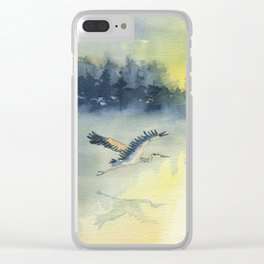 Flying Home - Great Blue Heron Clear iPhone Case