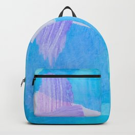 brush painting texture abstract background in blue purple Backpack