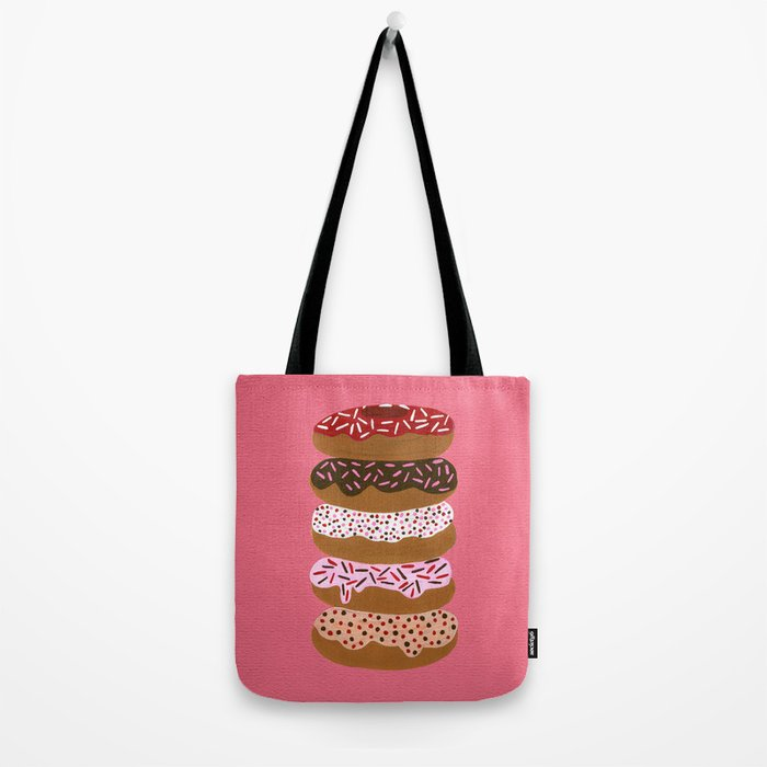 Stacked Donuts on Cherry Tote Bag
