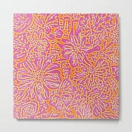 Marigold Lino Cut, Batik Pink And Orange Metal Print