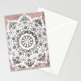 Dreamer Mandala White On Rose Gold Stationery Cards