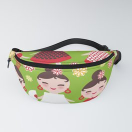 Seamless pattern spanish Woman flamenco dancer. Kawaii cute face with pink cheeks and winking eyes. Fanny Pack
