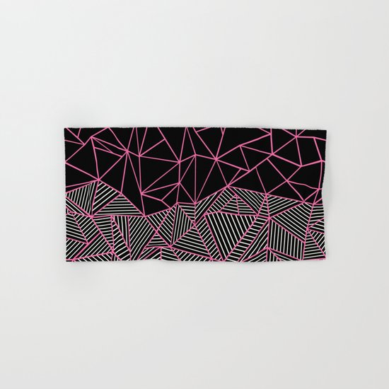 Ab Half an Half Black and Pink Hand & Bath Towel