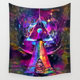 Psycodelic travel to the Moon Wall Tapestry