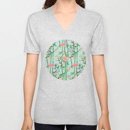 Bamboo, Birds and Blossom - soft blue green Unisex V-Neck