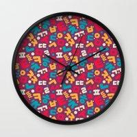 korean Wall Clocks featuring Korean alphabet pattern by Sudjino