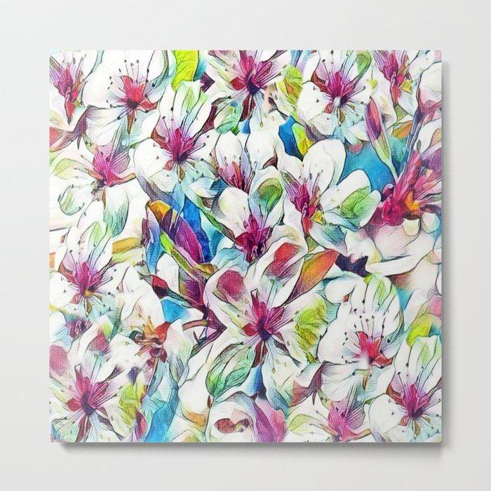 Joyful Spring Floral Abstract Metal Print