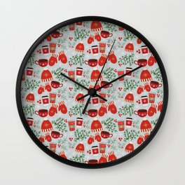 Coffee and Mittens Christmas Pattern Wall Clock