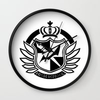 dangan ronpa Wall Clocks featuring Dangan Ronpa High School logo  by Prince Of Darkness