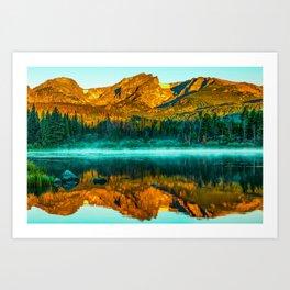 Rocky Mountain Light over Smoky Sprague Lake Reflections Art Print