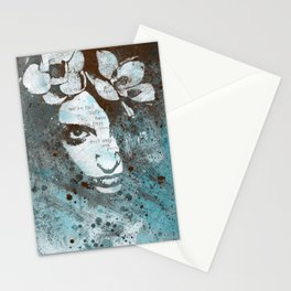 Blue Hypothermia (flower woman graffiti painting) Stationery Cards