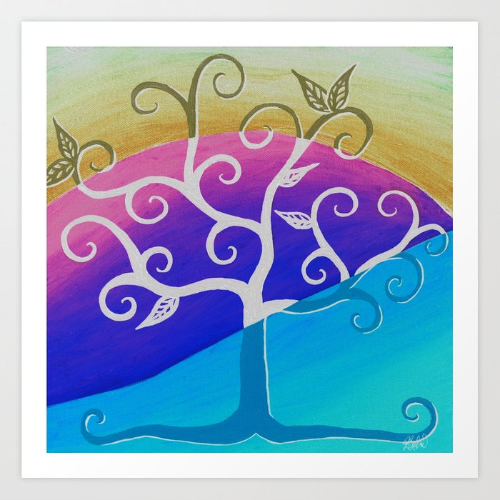 Tree Artwork Abstract Wall Art Nature Painting Square Paintings Bright Home