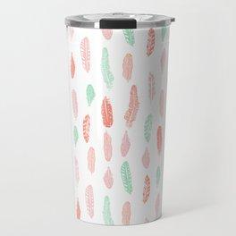 Feather mint pink and white minimal feathers pattern nursery gender neutral boho decor Travel Mug