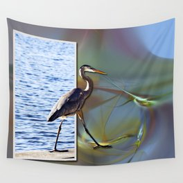Blue Heron Strut Wall Tapestry