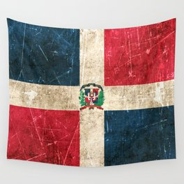 Vintage Aged and Scratched Dominican Flag Wall Tapestry