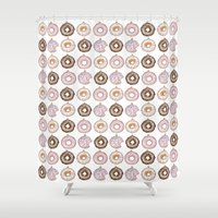 doughnut Shower Curtains featuring Doughnut Ornaments by stylishbunny