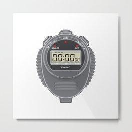 Retro Digital Stopwatch Metal Print