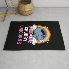 Rhino Save The Chubby Unicorns Magical Rainbow Rug