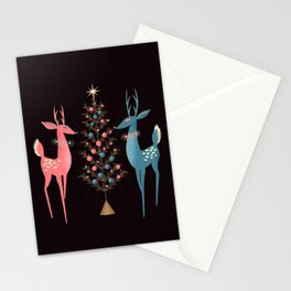 Midcentury Pink And Aqua Holiday At The North Pole Stationery Cards