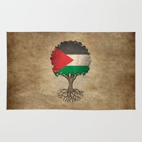 palestine Area & Throw Rugs featuring Vintage Tree of Life with Flag of Palestine by Jeff Bartels
