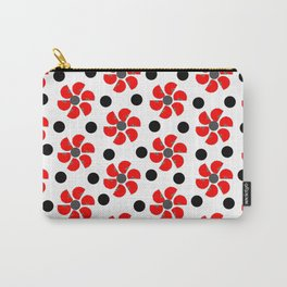 spring red white black grey floral pattern Carry-All Pouch