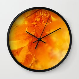 Colored Autumn Glow Leaves Wall Clock